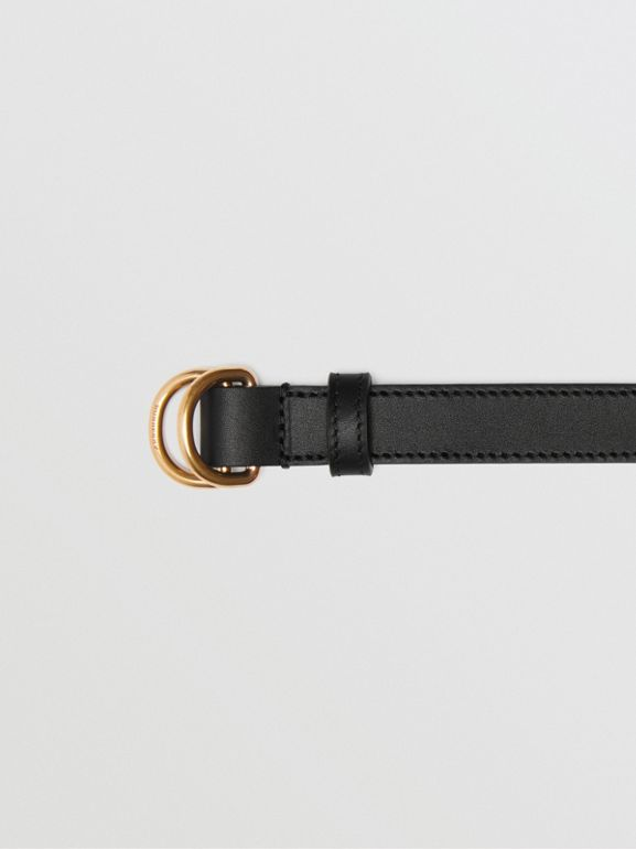 Slim Leather Double D-ring Belt in Black/dark Brass - Women | Burberry - cell image 1
