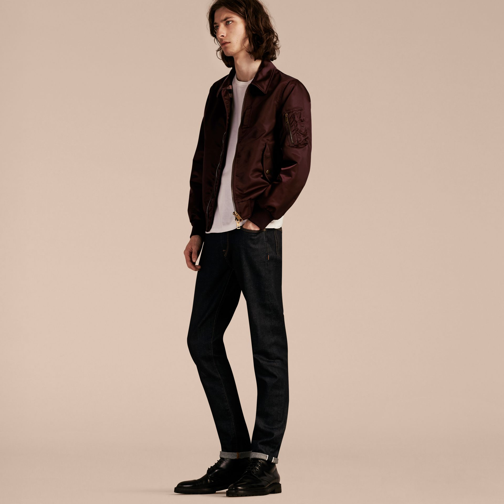 Satin Bomber Jacket with Check Undercollar in Dark Elderberry - gallery image 7