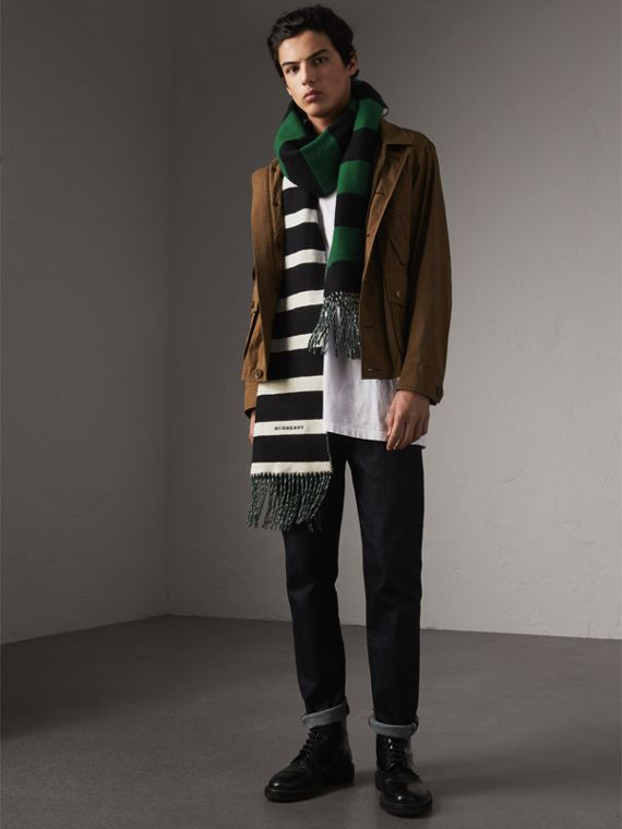 Colour-block Striped Wool Cashmere Scarf in Emerald Green/black | Burberry - cell image 3