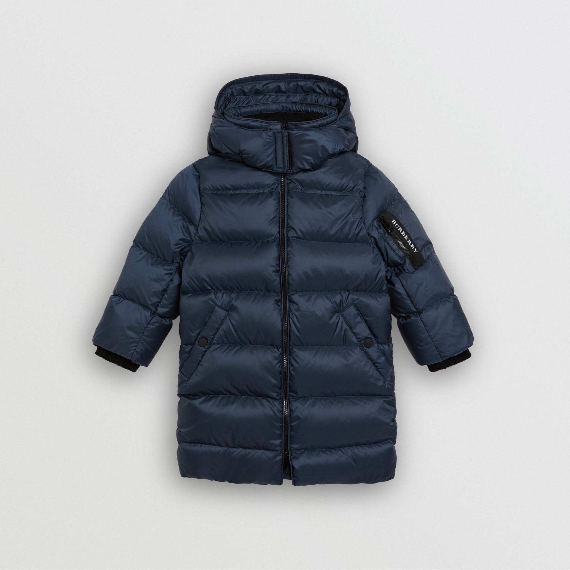 Detachable Hood Down-filled Puffer Coat in Navy | Burberry United Kingdom - gallery image 0