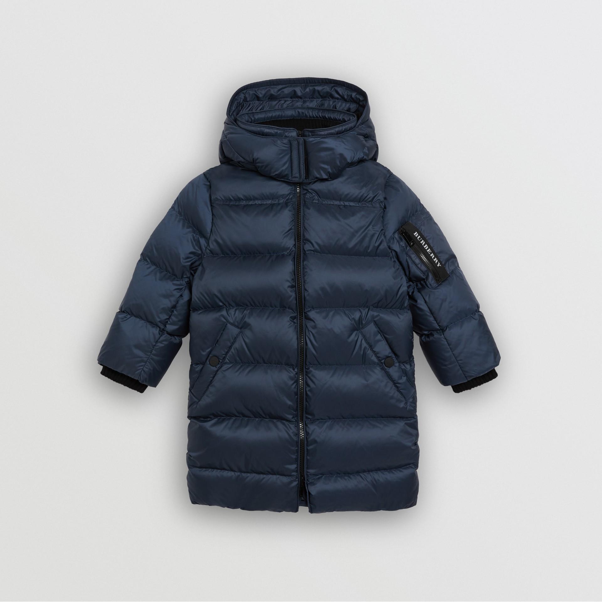 Abrigo acolchado con relleno de plumón y capucha de quita y pon (Azul Marino) | Burberry - imagen de la galería 0