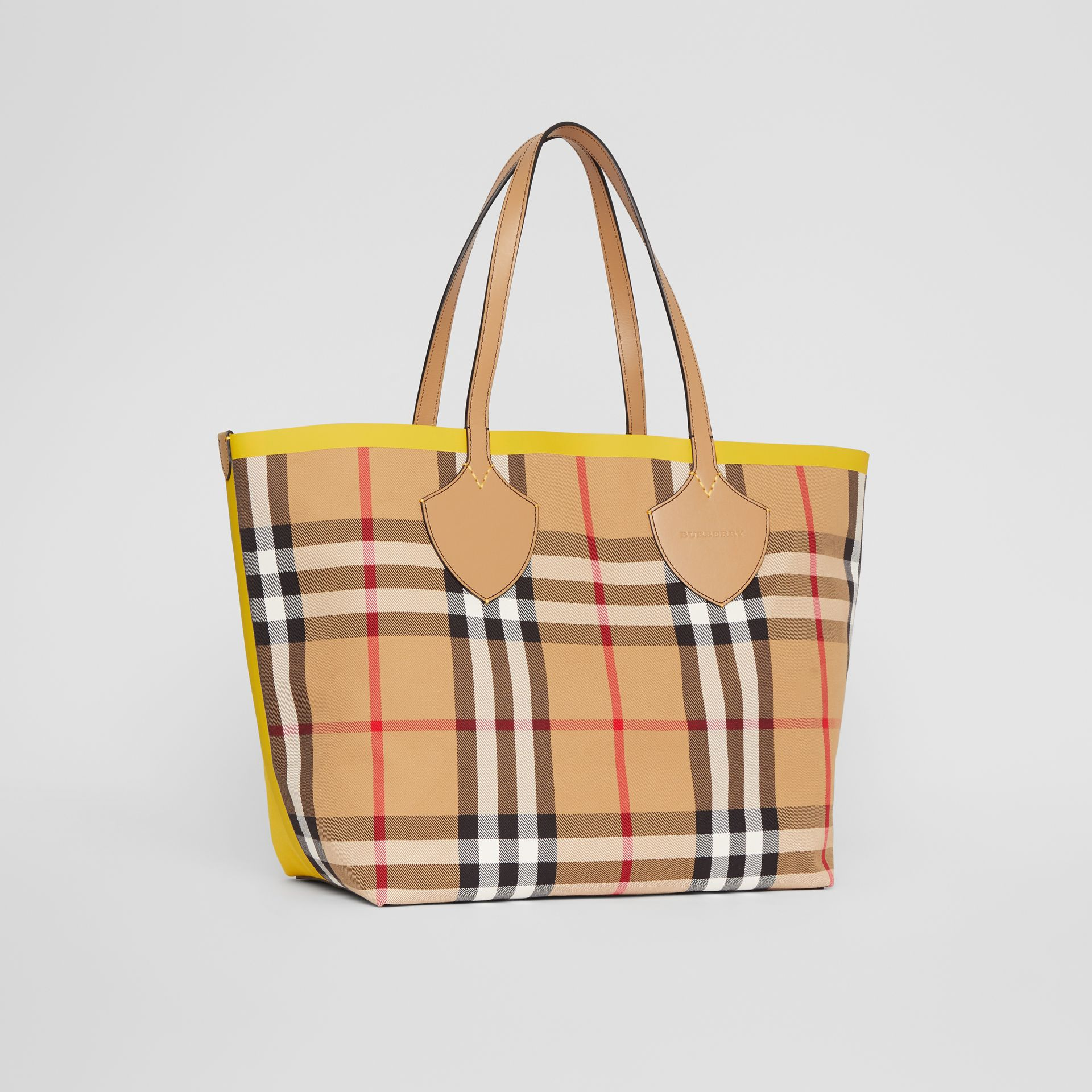 The Large Giant Tote in Colour Block Check in Antique Yellow/golden Yellow | Burberry - gallery image 6
