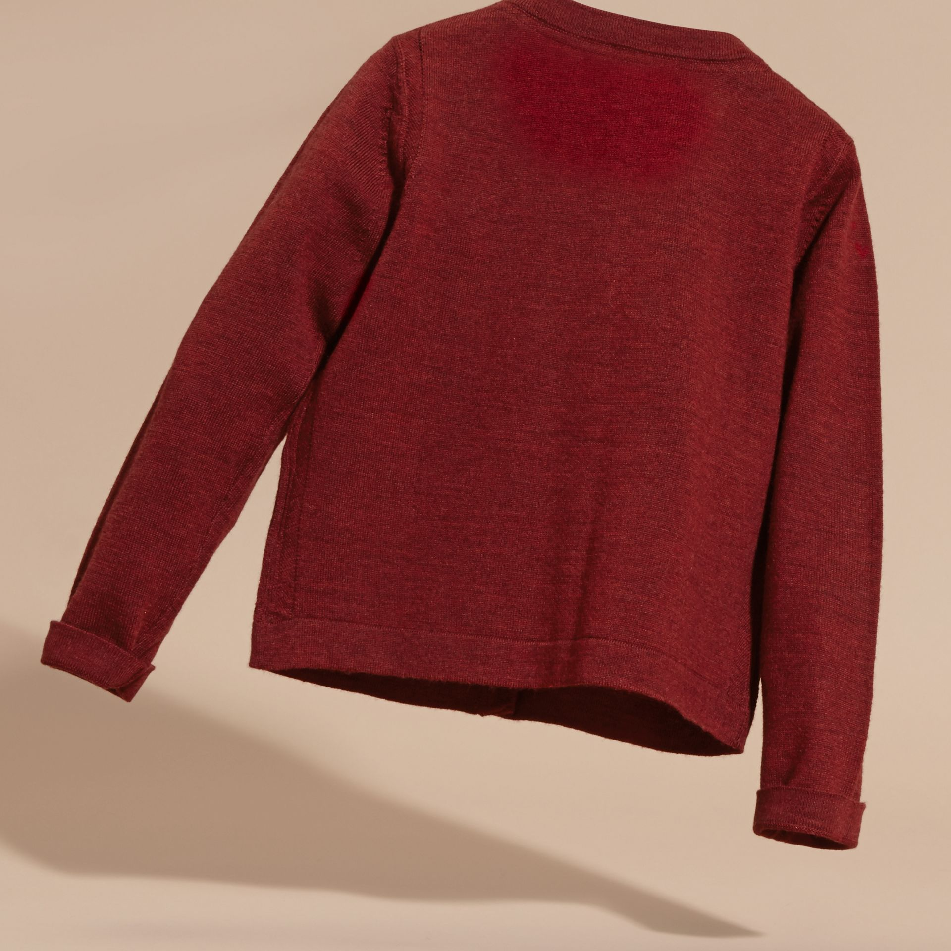 Dark plum pink Lightweight Merino Wool Cardigan Dark Plum Pink - gallery image 4