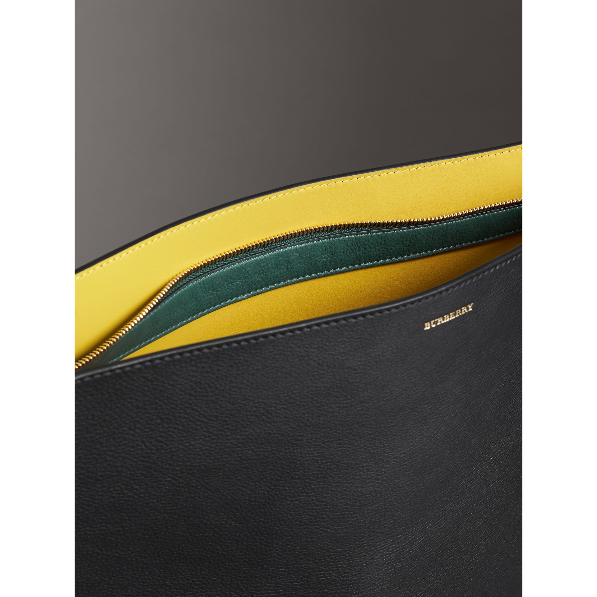Large Tri-tone Leather Clutch in Black/sea Green | Burberry - gallery image 5