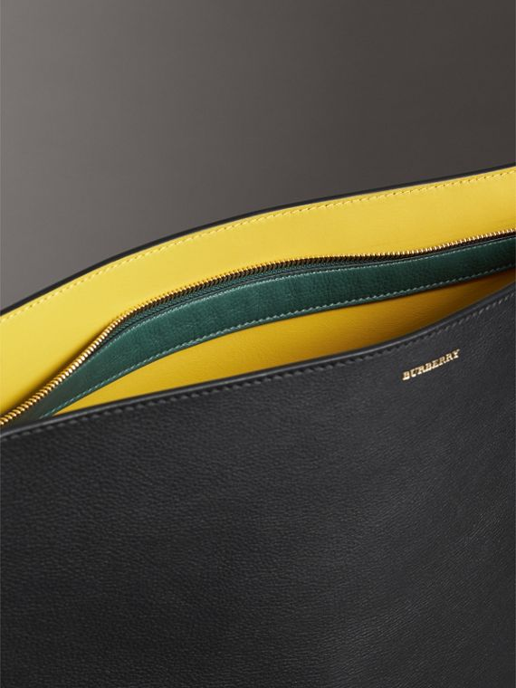 Large Tri-tone Leather Clutch in Black/sea Green - Women | Burberry Australia - cell image 3