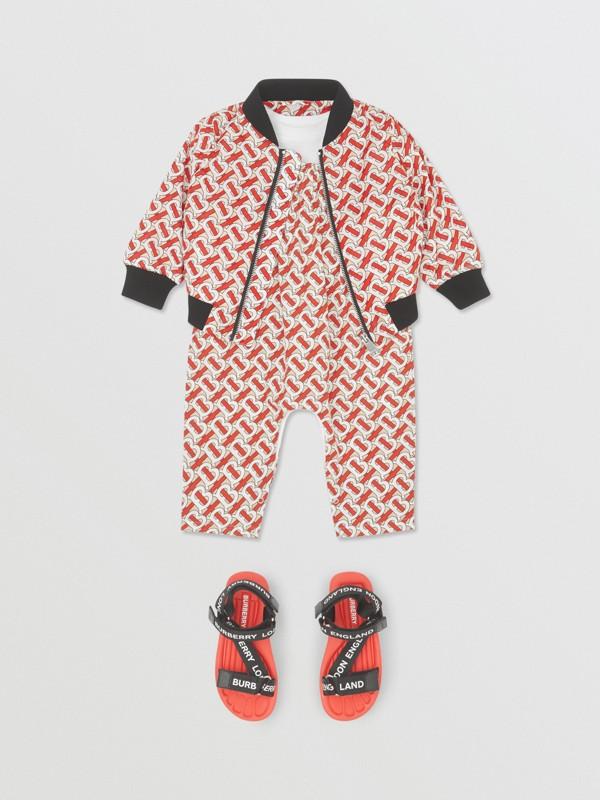 Monogram Print Nylon Bomber Jacket in Vermilion Red - Children | Burberry - cell image 2