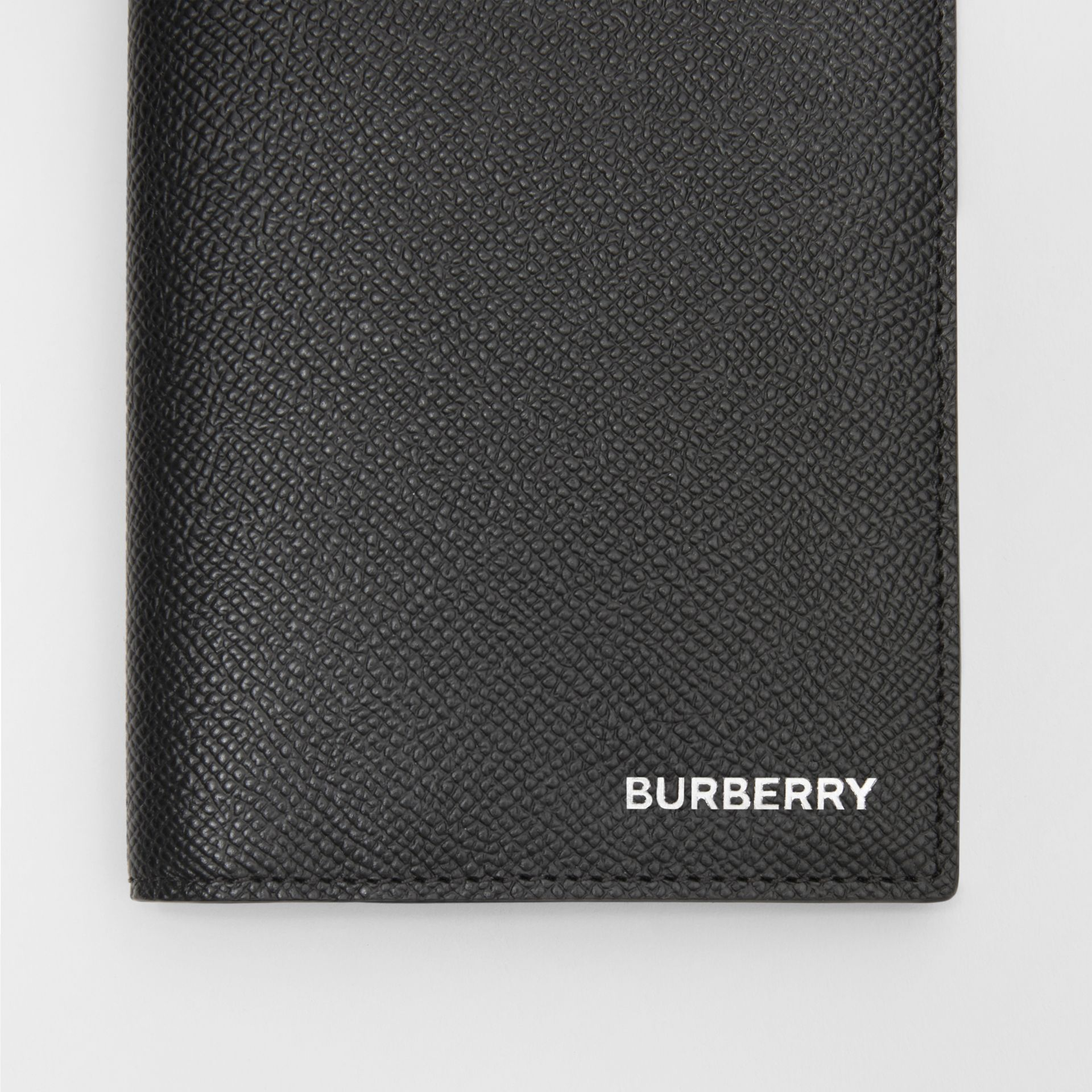 Grainy Leather Passport Holder in Black - Men | Burberry United States - gallery image 1
