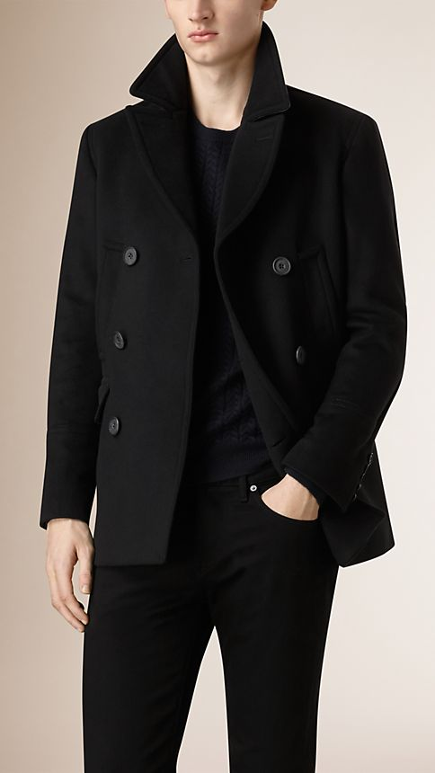 Black Virgin Wool Cashmere Pea Coat - Image 3