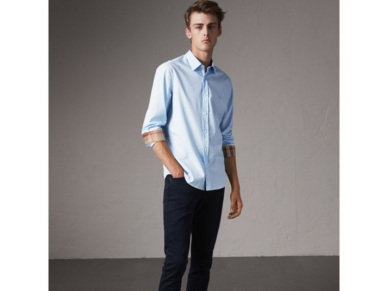Check Detail Stretch Cotton Poplin Shirt in Pale Blue - Men | Burberry United States - cell image 4