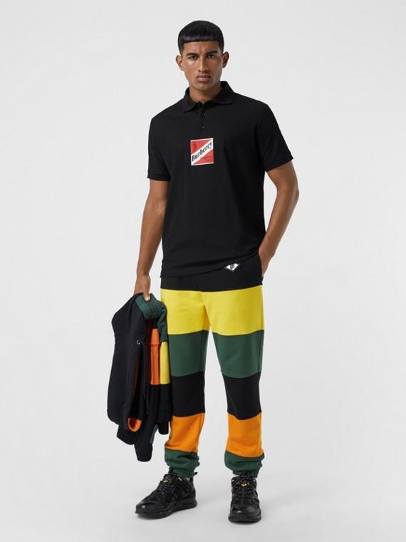 Polo oversize en piqué de coton à logo (Noir)