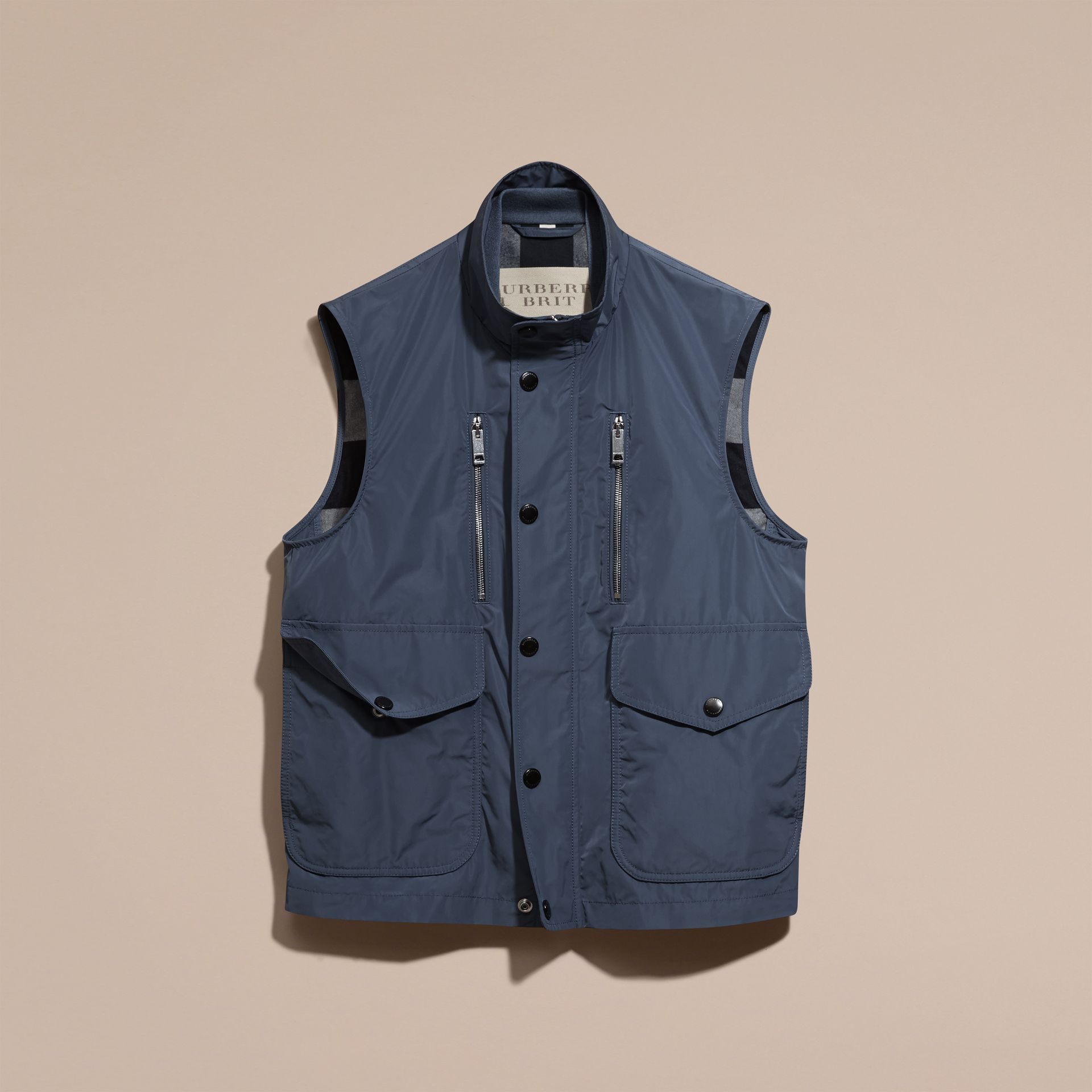 Steel blue Showerproof Technical Gilet - gallery image 4