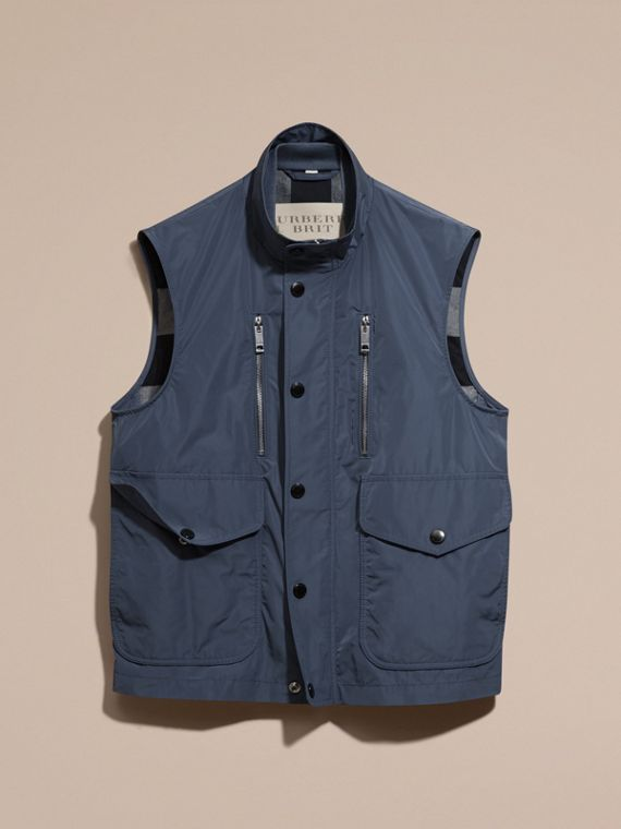 Steel blue Showerproof Technical Gilet - cell image 3