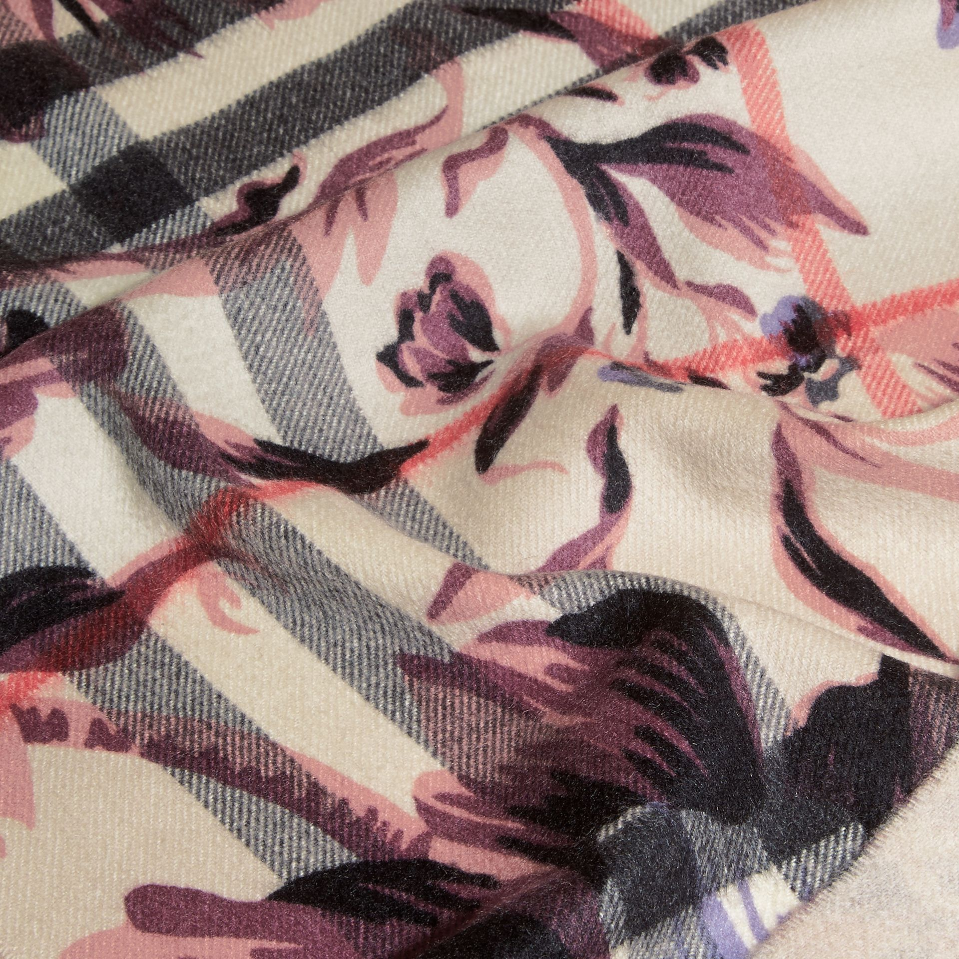 The Classic Cashmere Scarf in Check with Peony Rose Print - gallery image 5