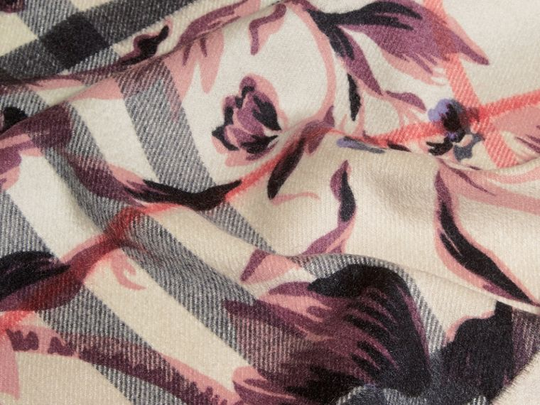 The Classic Cashmere Scarf in Check with Peony Rose Print - cell image 4