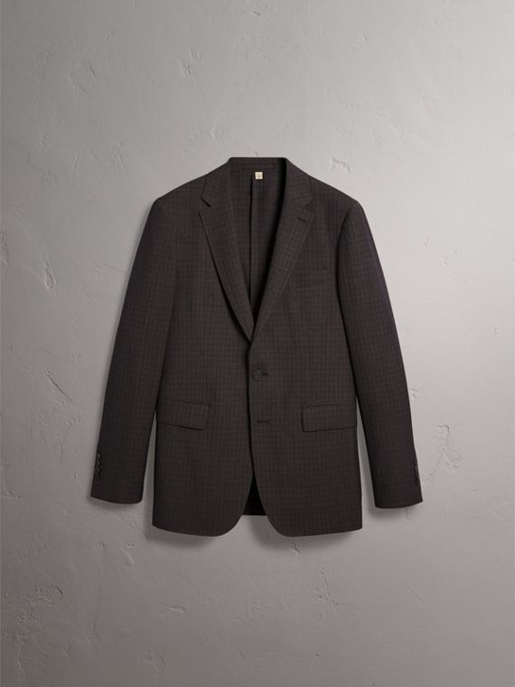Soho Fit Check Wool Suit in Blackcurrant - Men | Burberry United Kingdom - cell image 3