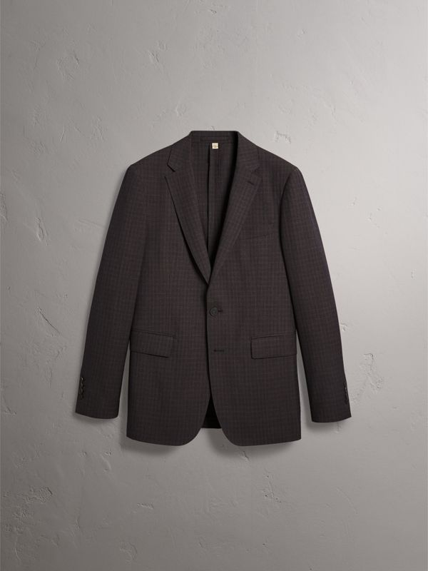 Soho Fit Check Wool Suit in Blackcurrant - Men | Burberry - cell image 3