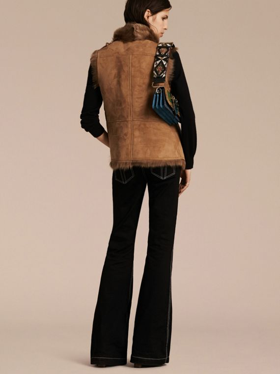 Cammello scuro Gilet in shearling Cammello Scuro - cell image 2