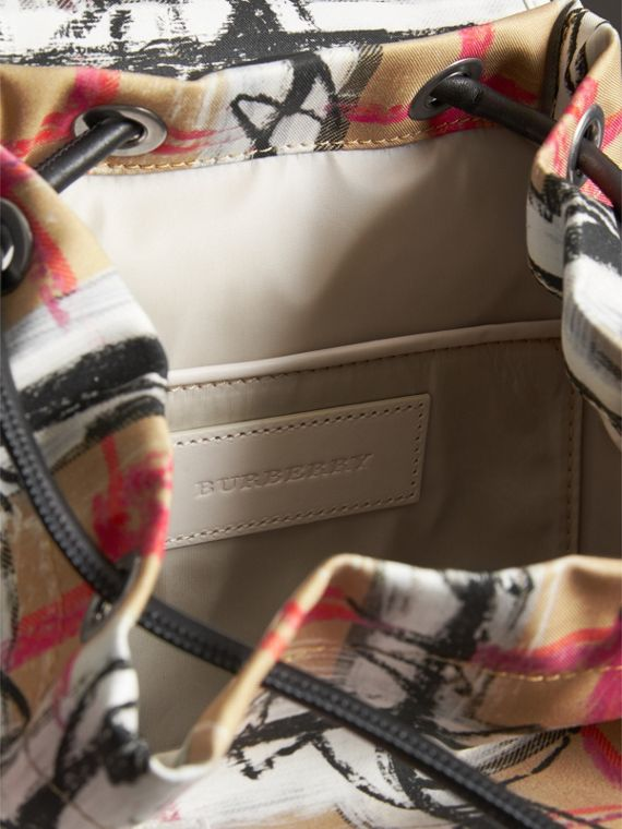 The Small Crossbody Rucksack in Scribble Check in Chalk White - Women | Burberry - cell image 3