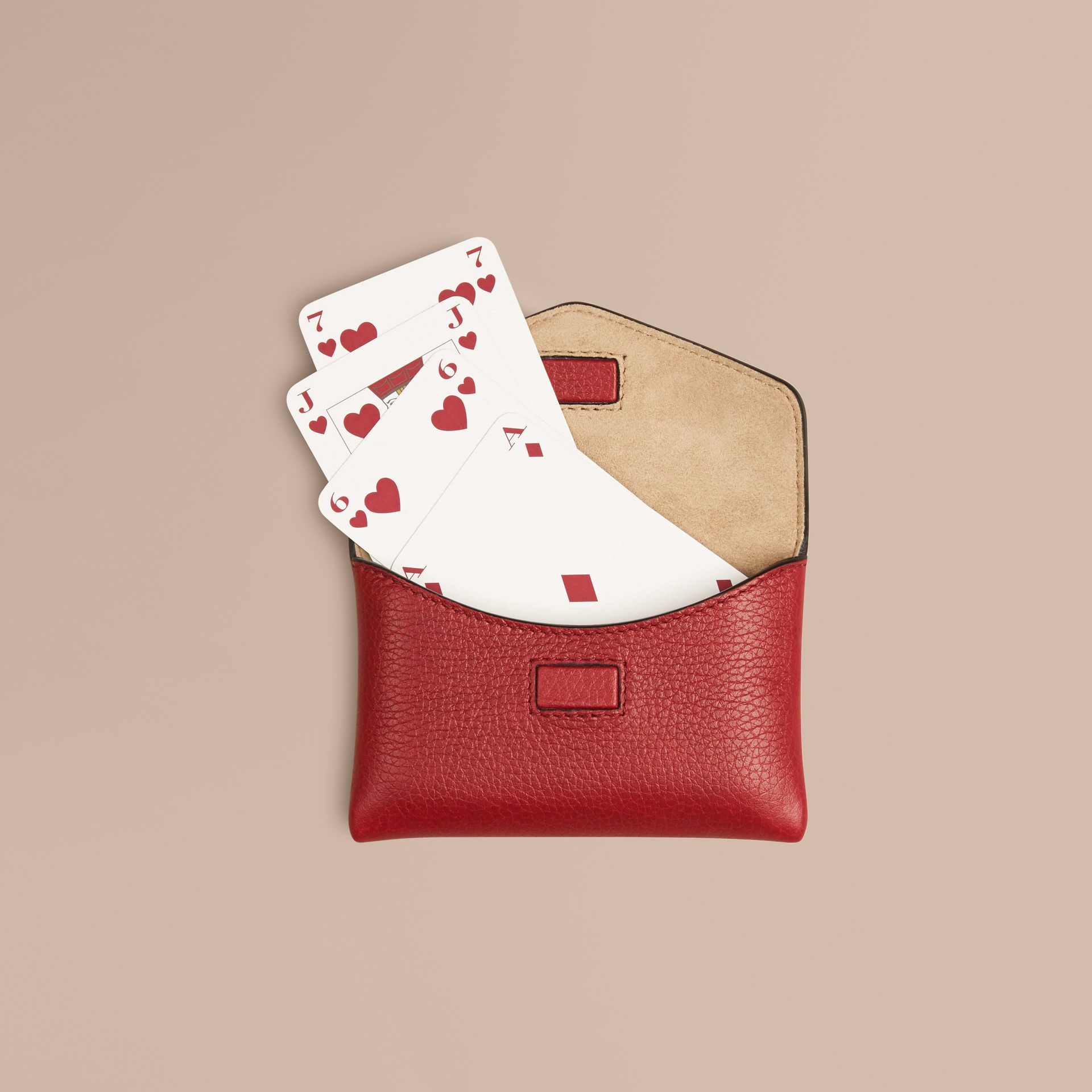 Grainy Leather Playing Card Case in Parade Red | Burberry - gallery image 1
