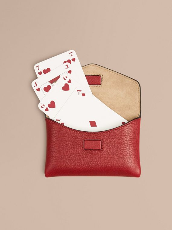 Grainy Leather Playing Card Case in Parade Red