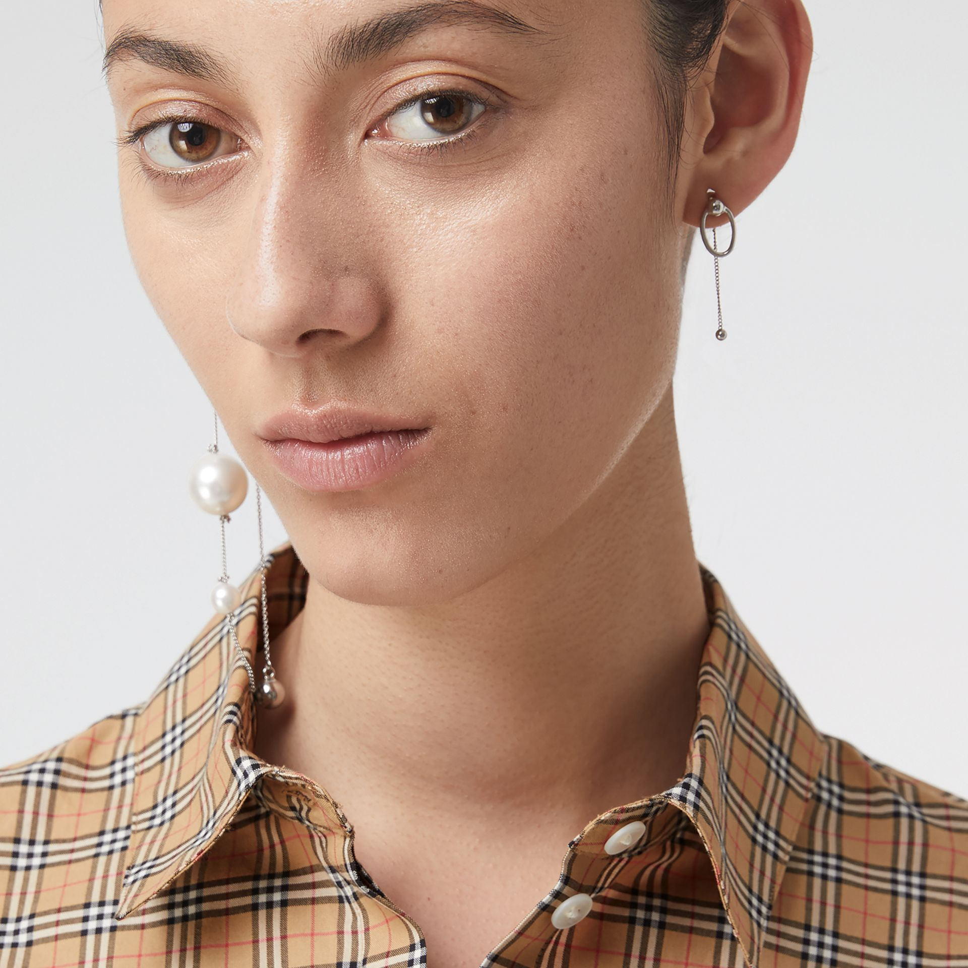 Check Cotton Shirt in Antique Yellow - Women | Burberry - gallery image 1