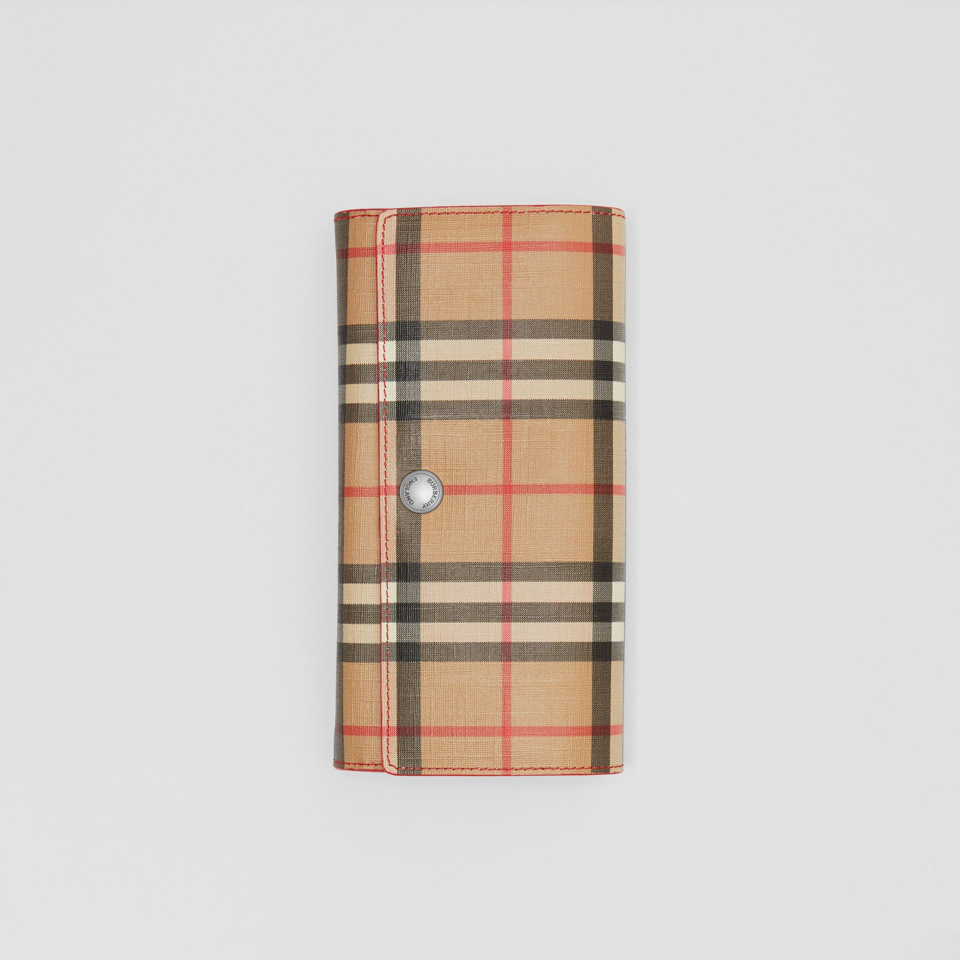 Vintage Check and Leather Continental Wallet in Bright Military Red - Women | Burberry United States - gallery image 3