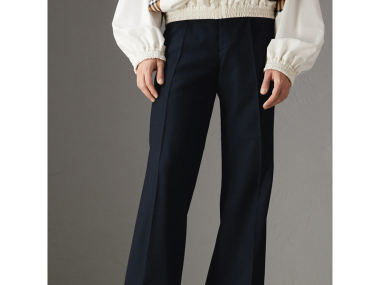 Wool Twill Flared Tailored Trousers in Dark Navy | Burberry Australia - cell image 4