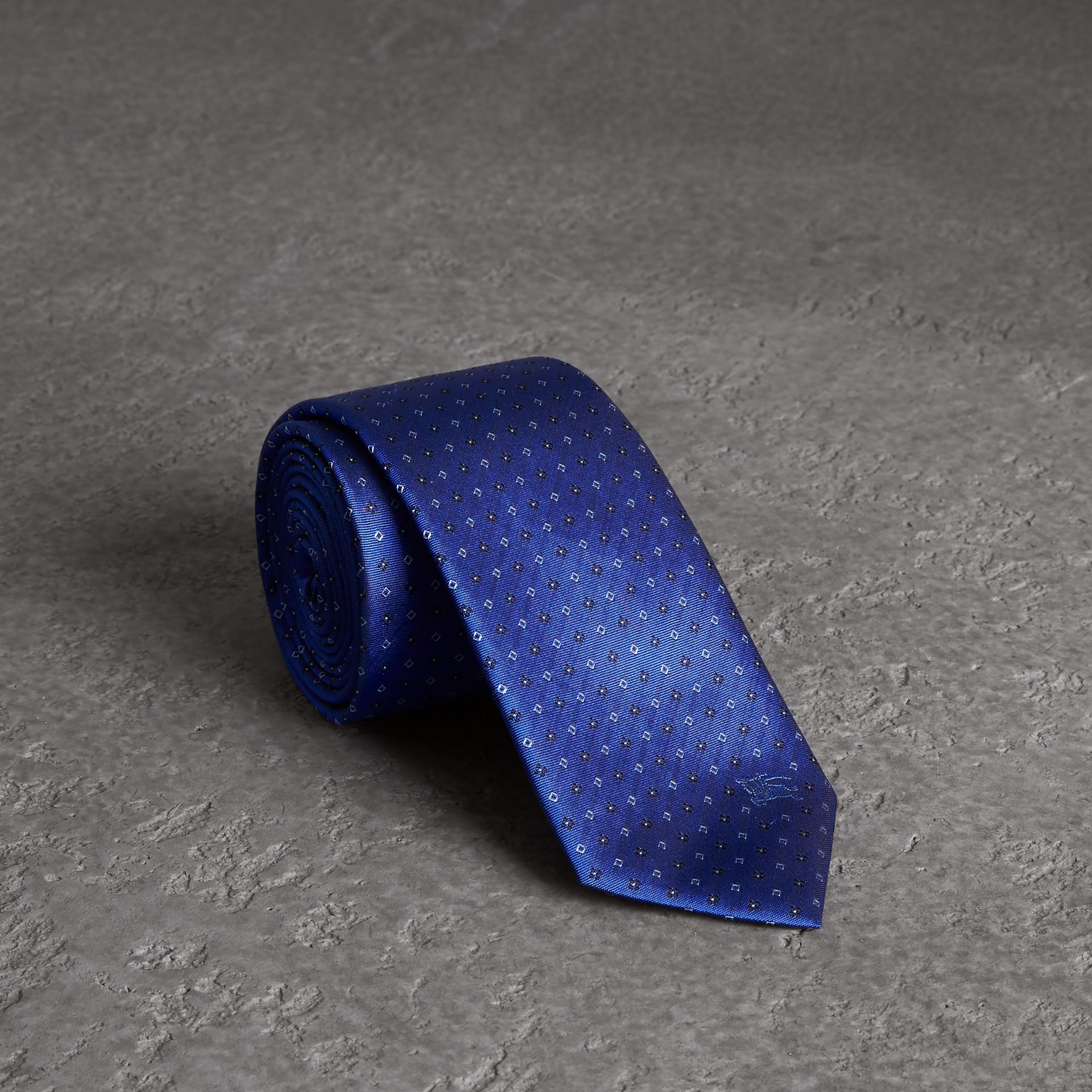 Modern Cut Micro Square Silk Tie in Bright Cobalt Blue - Men | Burberry - gallery image 0