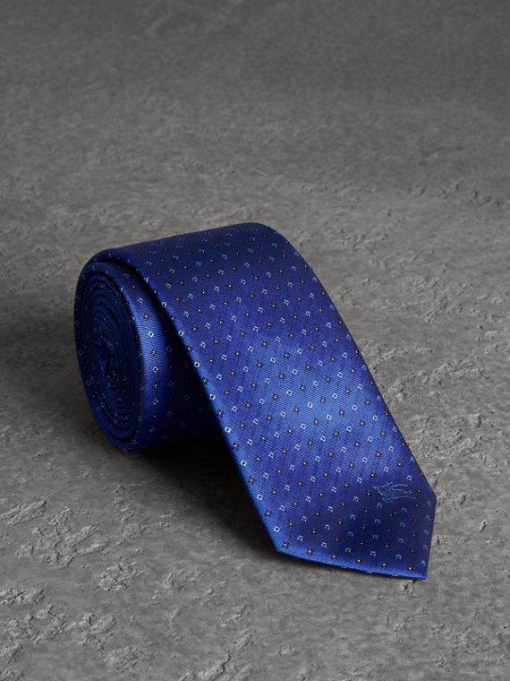 Modern Cut Micro Square Silk Tie in Bright Cobalt Blue