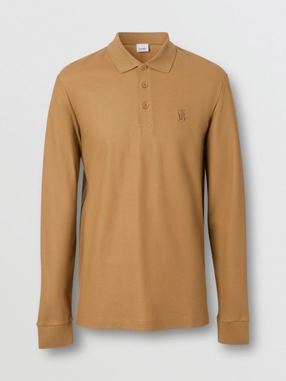 Long-sleeve Monogram Motif Cotton Piqué Polo Shirt in Camel