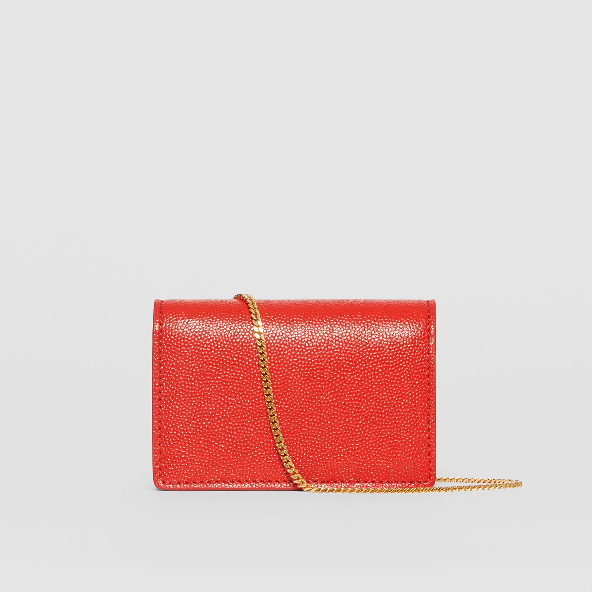 Grainy Leather Card Case with Detachable Strap in Bright Red - Women | Burberry - gallery image 7