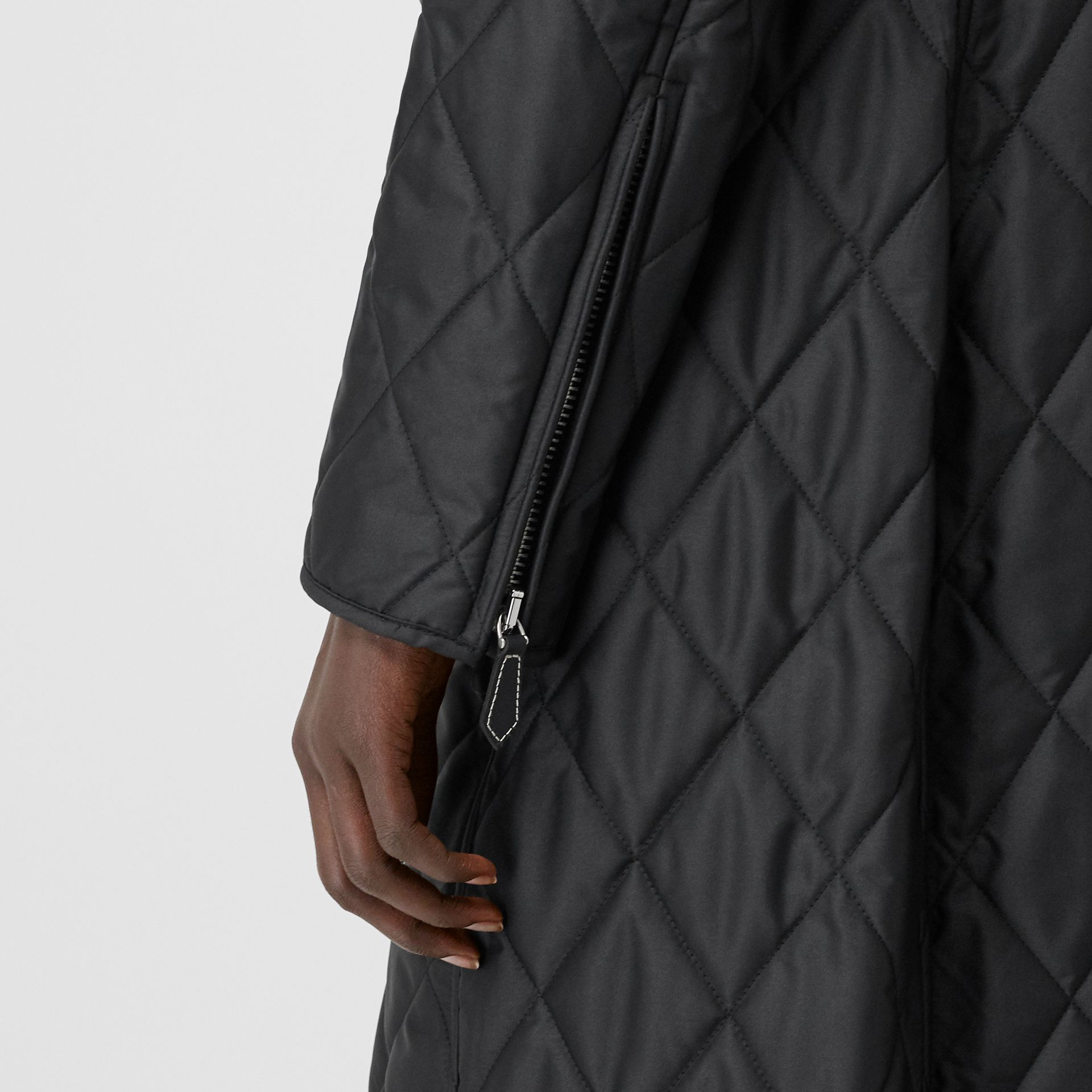 Monogram Motif Quilted Riding Coat in Black - Women | Burberry - gallery image 6