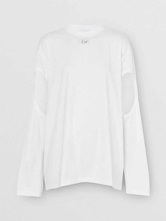Long-sleeve Cut-out Detail Oversized Top in White
