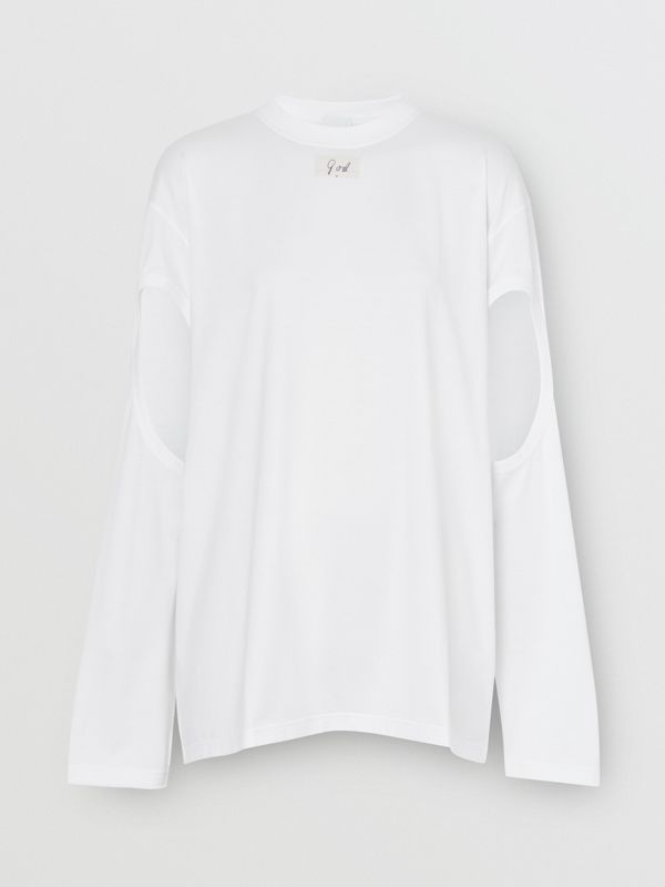Long-sleeve Cut-out Detail Oversized Top in White - Women | Burberry United States - cell image 3