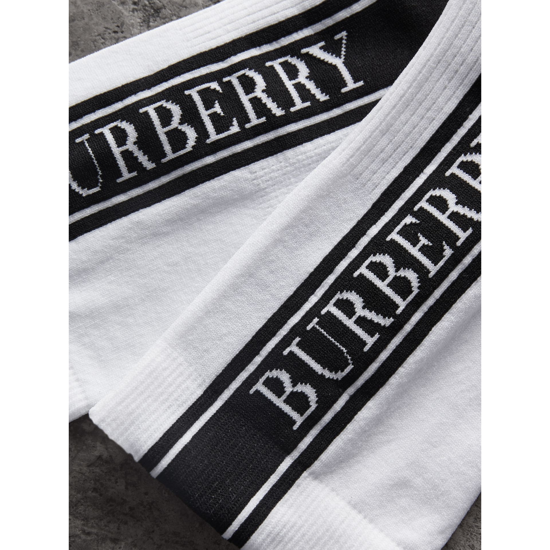 Logo Technical Knit Ankle Socks in White | Burberry - gallery image 1