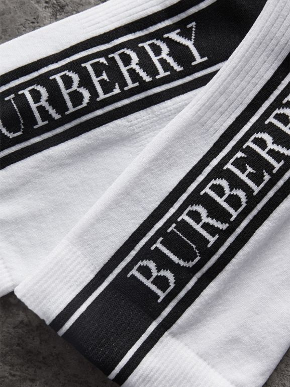 Logo Technical Knit Ankle Socks in White - Women | Burberry - cell image 1