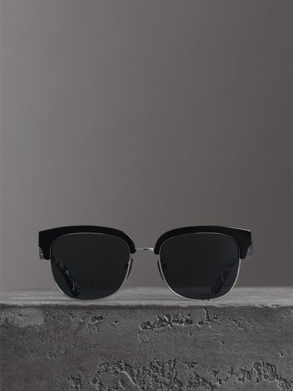 Check Detail D-frame Sunglasses in Black - Men | Burberry - cell image 2