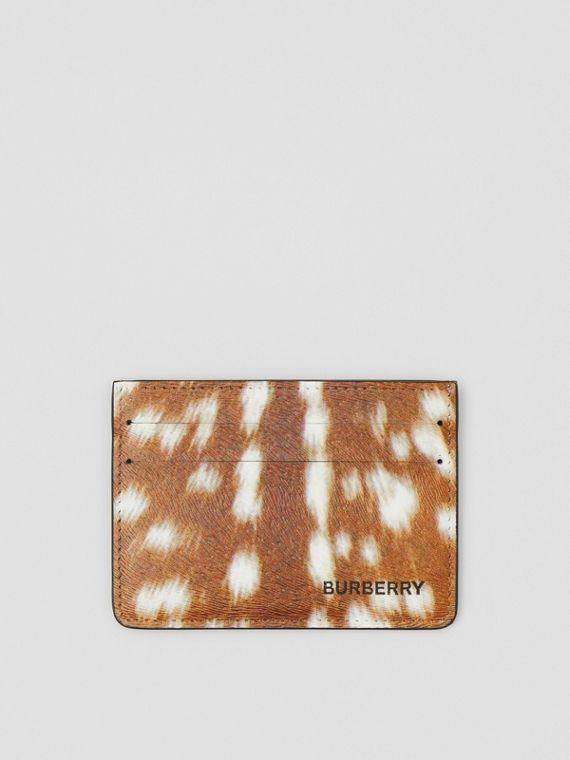 Deer Print Leather Card Case in Tan/white
