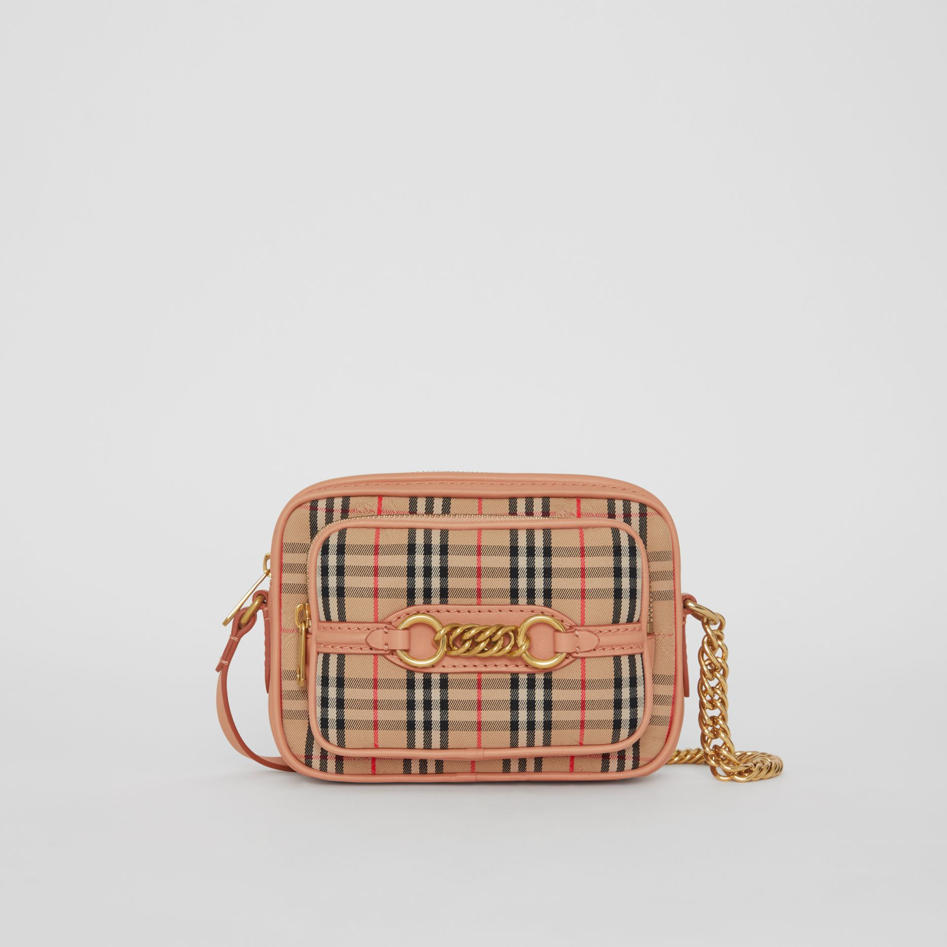 Sac caméra The Link à motif check de 1983 (Pêche) - Femme | Burberry Canada - photo de la galerie 0
