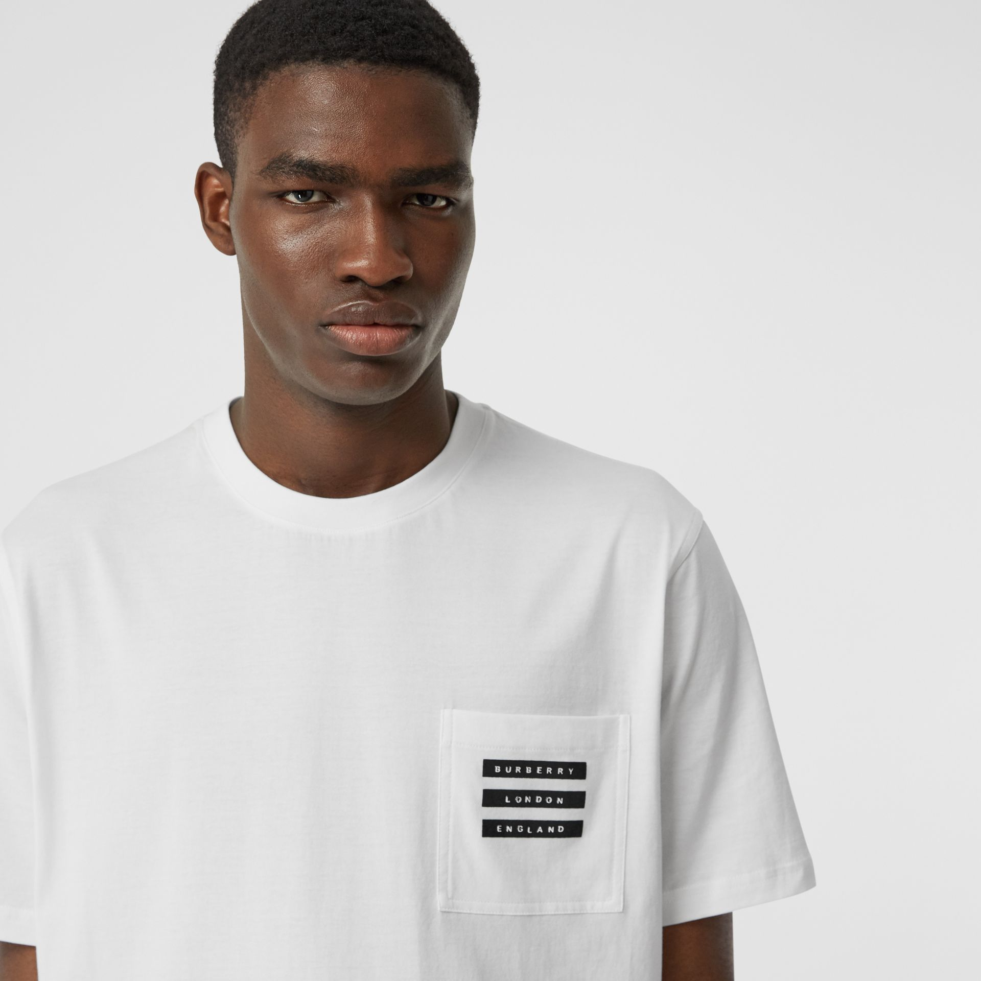 Tape Print Cotton T-shirt in White - Men | Burberry - gallery image 1