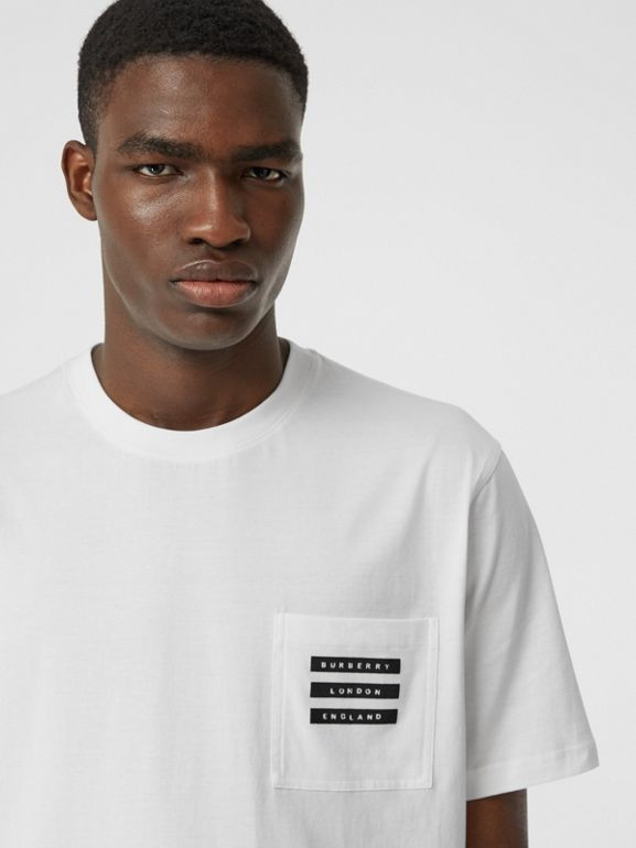 Tape Print Cotton T-shirt in White - Men | Burberry - cell image 1