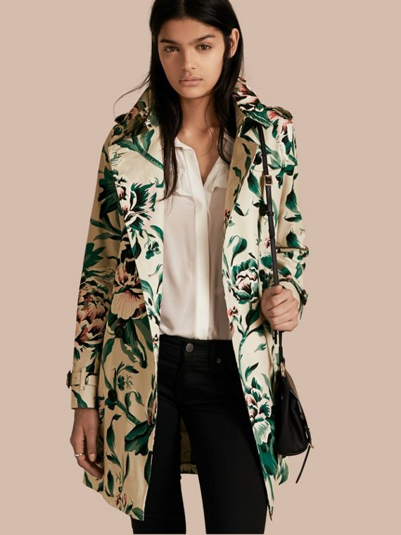 Peony Rose Print Cotton Trench Coat
