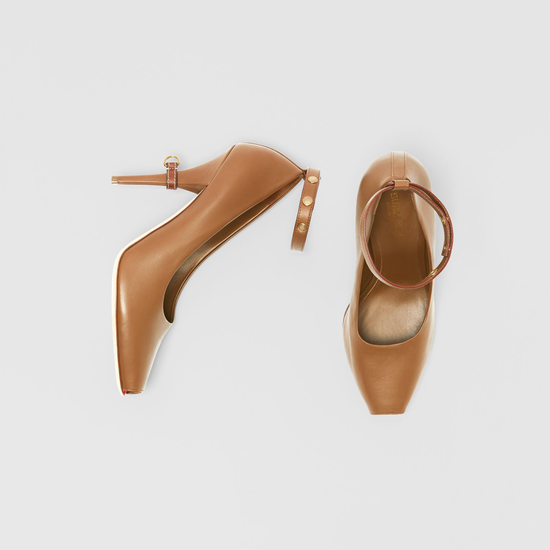 D-ring Detail Leather Peep-toe Pumps in Amber Brown - Women | Burberry - gallery image 0
