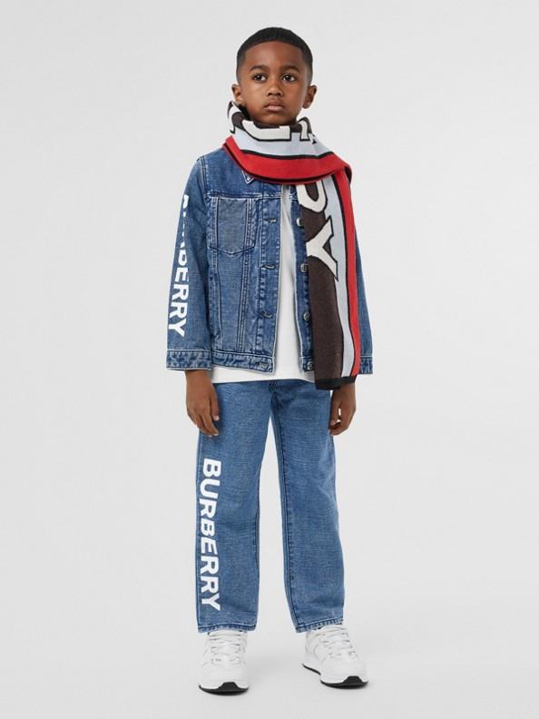 Jacke aus japanischem Denim mit Logodetail (Indigo)