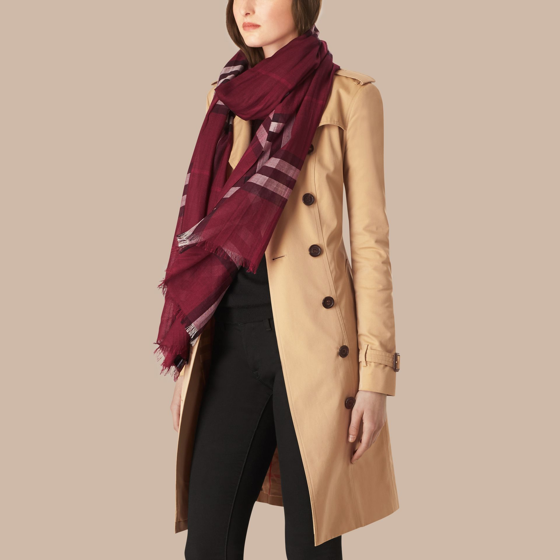 Lightweight Check Wool and Silk Scarf in Plum - gallery image 3