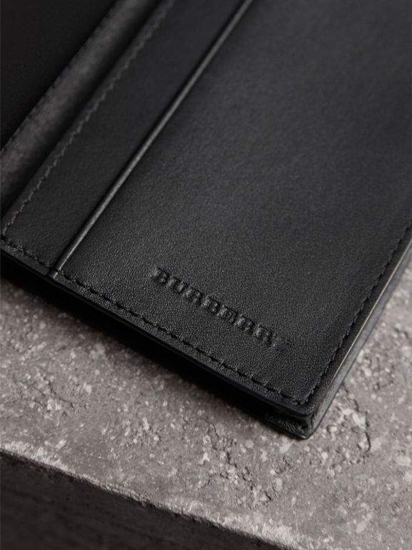 London Check and Leather Folding Card Case in Charcoal/black - Men | Burberry - cell image 1