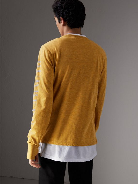 Devoré Jersey Top in Bright Yellow Melange - Men | Burberry Singapore - cell image 2