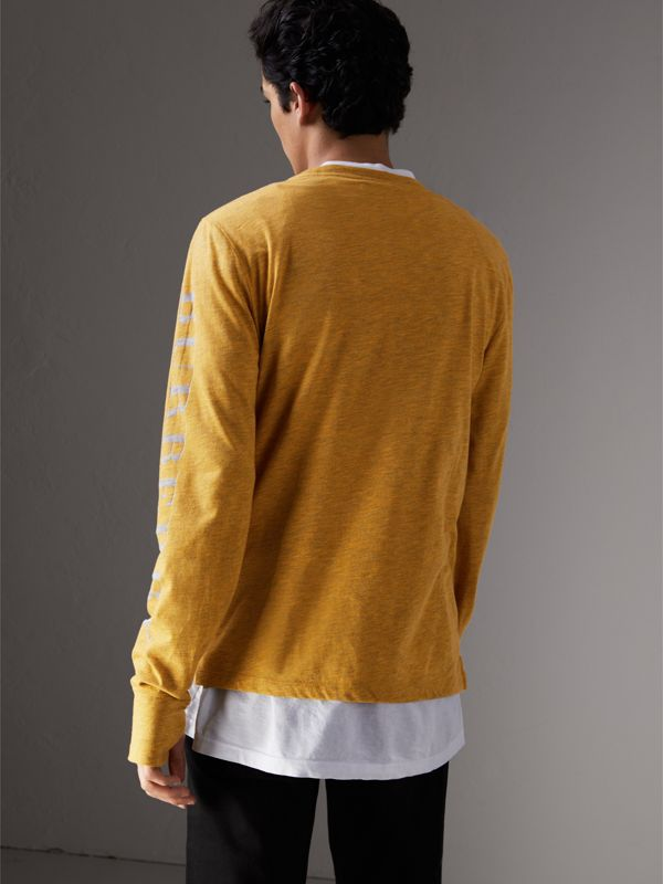 Devoré Jersey Top in Bright Yellow Melange - Men | Burberry - cell image 2