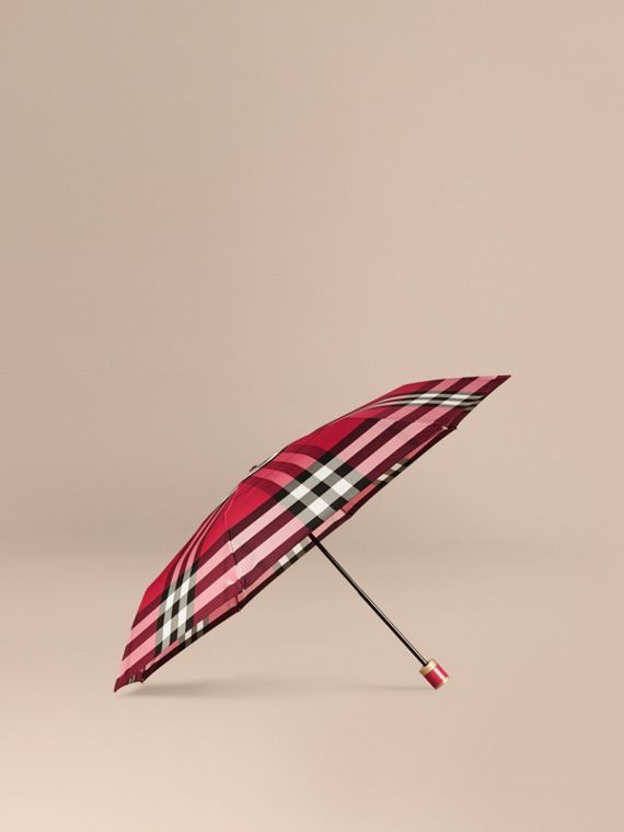 Check Folding Umbrella Fuchsia Pink