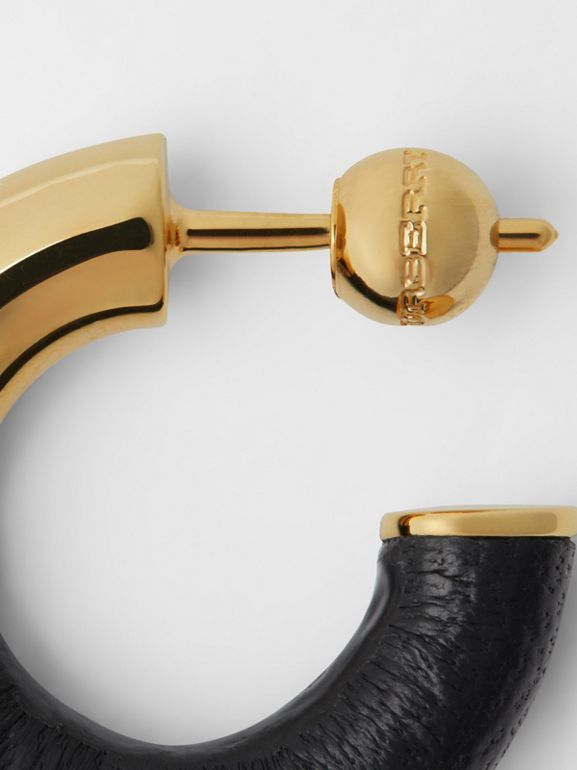 Leather-wrapped Gold-plated Hoop Earrings in Light Gold/black - Women | Burberry - cell image 1